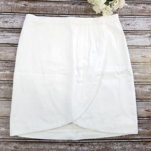 Michael Kors White Cotton Tulip Wrap Mini Skirt 6